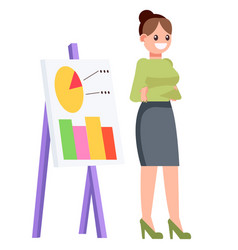 A woman with a chart chart shows statistics vector