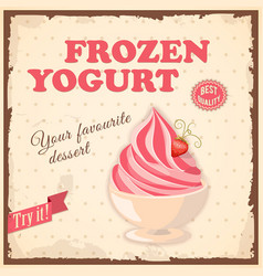 banner frozen yogurt vector image