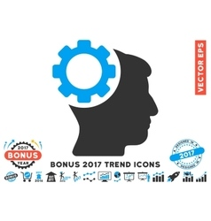 Brain gear flat icon with 2017 bonus trend vector