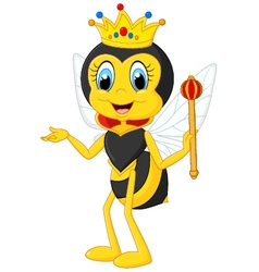 Cartoon queen bee presenting vector