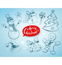 Christmas hand drawn line art set vector