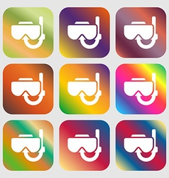 Diving mask icon sign nine buttons with bright vector