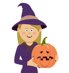 halloween witch with magic pumpkin vector image