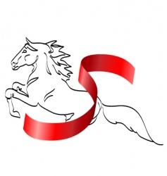 Horse and ribbon vector