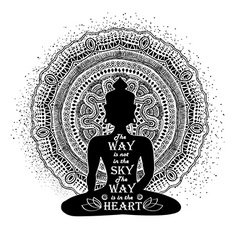 Isolated Buddha Silhouette And Mandala Design vector image vector image