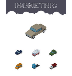 Isometric transport set of auto armored truck vector