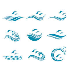 Ocean logo set vector