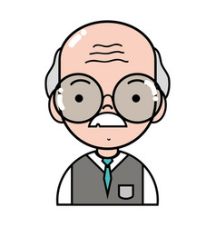 Old man teacher with glasses and uniform clothes vector