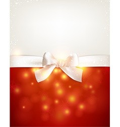 Paper postcard with white bow vector image
