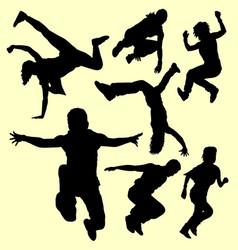 parkour training sport silhouette vector image vector image