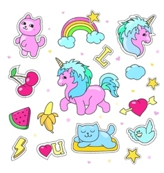 Patch badges with hearts unicorn clouds cats vector