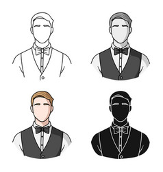 Restaurant waiter with a bow tie icon in cartoon vector