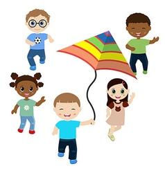 Running children on white background vector image
