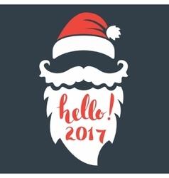 Santa beard with lettering Hello 2017 Happy New vector image vector image
