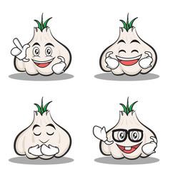 Set of garlic cartoon character collection vector