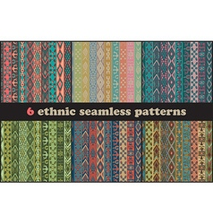 Set of six ethnic seamless patterns vector image
