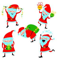 set with santa claus cute christmas winter vector image