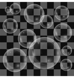 Transparent soap bubbles isolated vector