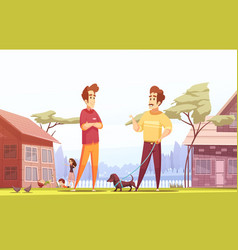 Two male neighbors at village background vector