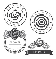 Vintage labels with rose flower vector image vector image