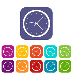 Wall clock icons set flat vector