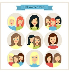 Women Characters Flat Circle Icons Set vector image vector image