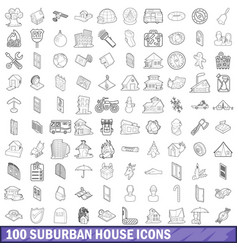 100 suburban house icons set outline style vector