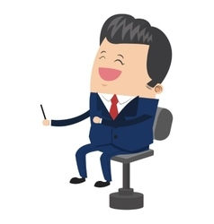 Cute businessman cartoon laughing on chair icon vector