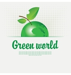 Green banner with with a picture of the planet vector