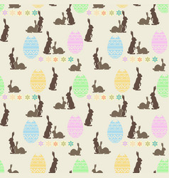 Seamless bright background with easter bunnies vector