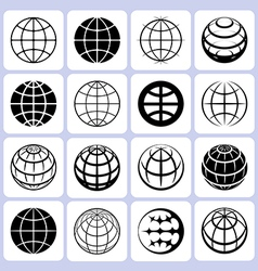 Globe icons set vector