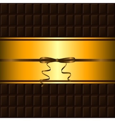 Chocolate bar and gold border vector