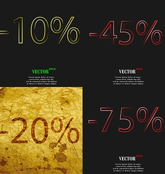 45 20 75 icon set of percent discount on abstract vector