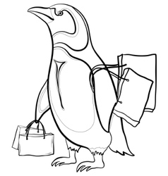 penguin with bags contours vector image