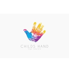 Hand logo design Childs hand logo Colorful logo vector image