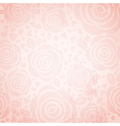 Pink background with rose and heart vector