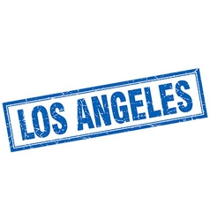 Los angeles blue square grunge stamp on white vector