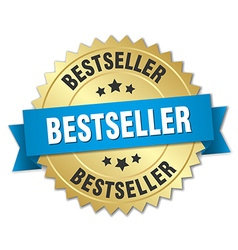 Bestseller 3d gold badge with blue ribbon vector