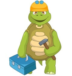 Funny Turtle Contractor vector image