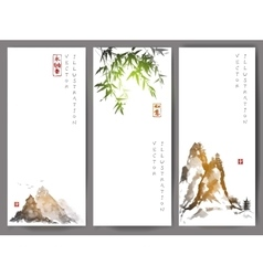 Banners with green bamboo mountains and island vector