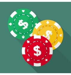 Set of casino gambling chips flat icons vector