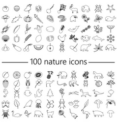One hundred nature theme outline icons big set vector