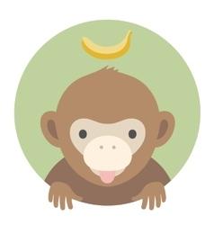 Animal set portrait in flat graphics - monkey vector