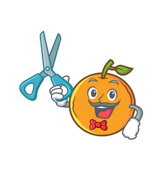 Barber orange fruit cartoon character vector