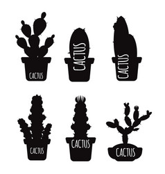 black cactus silhouettes isolated on white vector image