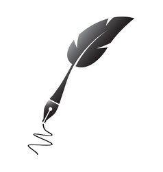 Black feather silhouette pen vector