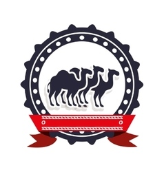 border insignia with camels and label vector image vector image