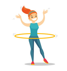 Caucasian woman doing exercises with hula hoop vector