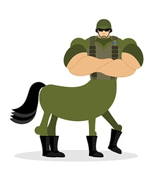 Centaur soldier in helmet Military mythical vector image