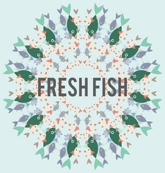Circular repetitive pattern of colorful fish vector